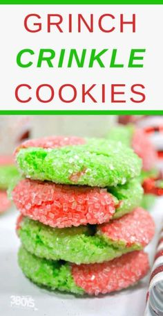 christmas cookies grinch Weihnachtspltzchen TheseGrinch Cake Mix Crinkle Cookies make the perfect extra sweet treat. Your family will certain get a kick out of these Grinch crinkle cookies this Holiday season. Christmas Cookies Grinch, Grinch Cookies, Easy Christmas Cookie Recipes, Christmas Cookie Exchange, Christmas Sweets, Christmas Baking, Holiday Baking, Holiday Fun, Holiday Recipes
