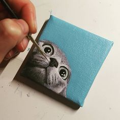 Tiny painting of a cat, curious kitty, small canvas, small painting
