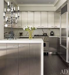 David Kleinberg S Upper East Side Apartment Is The Epitome Of Sophistication Stainless Steel Kitchen Cabinetskitchen