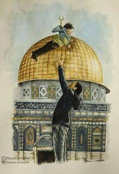 Palestine History, Palestine Art, Terra Santa, Dome Of The Rock, Islamic Cartoon, Anime Muslim, Islamic Girl, Israel, Princess Drawings