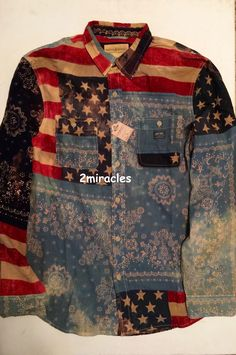 2ab5e43fa6 Ralph Lauren Denim  amp  Supply Flag Americana Ward Shirt 100% Cotton Multi  Mens M