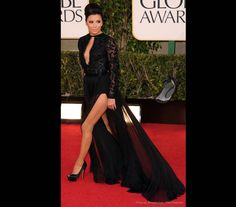 Eva Longaria in Emilio Pucci. Too much Angelina Jolie leg action, cleavage and big hair, bringing her version of Strictly to the red carpet