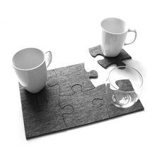 Felt Coasters Home Decor  set of 6 Puzzle Design by FeelMyCraft, €9.00