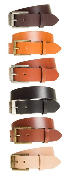 """Custom Handmade Belt for Men The Anne Wesley Handmade Full Grain Leather Belt in Chestnut Brown is made with 8-10 oz. Wickett & Craig """"English"""" Bridle Vegetable Tanned Leather and matched with a Solid Brass Dress Buckle. The edges are dyed black, burnished, and waxed. All belts are made-to-order, cut-to-size, and handmade for a durable and perfectly fitted leather belt to match with your pair of denim jeans or chinos."""