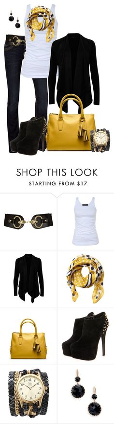 """Black and Yellow"" by averbeek ❤ liked on Polyvore featuring LTB by Little Big, River Island, Tusnelda Bloch, Ted Baker, Banana Republic, Coach, Sara Designs and Ivanka Trump"