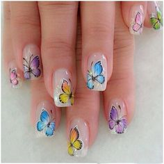 Lovely manicure with colourful butterflies