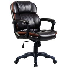 Giantex Ergonomic Task Chair PU Mid-Back Leather Executive Computer Desk Task Office Chair (Brown Work Chair, Leather Chair With Ottoman, Leather Recliner, Floor Protectors For Chairs, Black Office Chair, Office Desk, Executive Office Chairs, Ergonomic Office Chair, Accent Chairs For Living Room