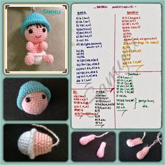 Simon of weaves: Baby Keychain Preparation Boneca Molly- Amigurumi – Tricrochetando com a Jane This Pin was discovered by Sam Best yet, they're a free crochet pattern! Round SC in the first 9 stitches, INV DEC 6 times, SC in the last 9 stitches Round S Crochet Doll Pattern, Crochet Patterns Amigurumi, Amigurumi Doll, Crochet Dolls, Crochet Hats, Crochet Keychain, Crochet Bookmarks, Crochet Animals, Doll Patterns