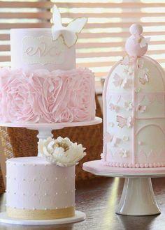 Pastel #blanco #rosa #elegante #mariposas