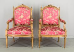 Suite of four vintage Louis XVI style parlor chairs, including two armchairs and two side chairs. Nice proportions and comfortable seating with seat height. Louis Xvi, Sweet Sixteen, Side Chairs, Vintage Furniture, Pink And Gold, Hot Pink, Armchair, Antiques, Home Decor