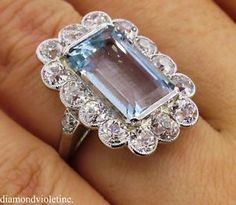 GIA 9.17ct Antique Vintage Art Deco Aquamarine Diamond Cluster Engagement Platinum Ring