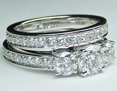 Three stone Round diamond engagement ring diamond band & matching wedding band