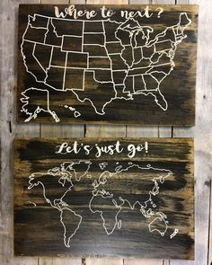 Items similar to Wood World Map and US Map set of 2 on Etsy World Map Travel, Travel Map Pins, Travel Maps, Travel Collage, Rv Travel, Travel Stuff, Tattoo Studio, Travel Gallery Wall, Wood World Map