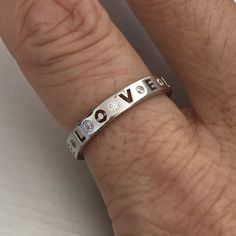 Sterling Silver LOVE Eternity CZ Band
