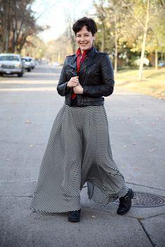 Black moto, vintage scarf, striped maxi skirt