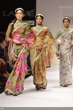 Models walk the ramp in creations designed by Sabyasachi on Day 4 of the ongoing Lakme Fashion Week in Mumbai. Indian Fashion Trends, Indian Fashion Designers, Asian Fashion, Indian Bridal Wear, Indian Wear, Indian Style, Indian Attire, Indian Outfits, Indian Clothes
