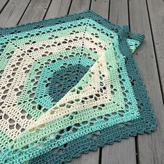 If you use the same yarn and gauge as indicated in the pattern this blanket will measure approximately 85 cm between two tips, and 75 cm between two sides (measured across the blanket).