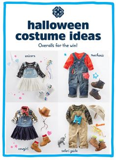 Looking for easy Halloween costumes for kids?! OshKosh overalls for the win! With just a few details, their favorite pair of overalls turns into a unicorn, mechanic, cowgirl costume or safari guide! Make it their own and share your pics with #overallsday #oshkoshkids