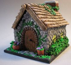 Stone cottage house Fairy House Cake, Clay Fairy House, Fairy Garden Houses, Fai… - All For Garden Fairy House Cake, Clay Fairy House, Fairy Garden Houses, Fairy Gardens, Fairies Garden, Clay Houses, Miniature Houses, Crea Fimo, Christmas Gingerbread House