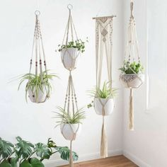 4 Pack Macrame Plant Hangers Set, Hanging Rope Planter for Indoor Flowers Macrame Plant Holder, Macrame Plant Hangers, Plant Holders, Small Potted Plants, Indoor Plant Pots, Hanging Potted Plants, Décoration Harry Potter, Hanging Wall Planters, Decorative Planters