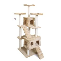 OxGord 22x22x58Inch Condo Cat Tree With Scratching Post And Toys Tan And White ** Check out the image by visiting the link.Note:It is affiliate link to Amazon.