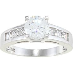 Alyssa Jewels 14k Gold 2.6 mm Round Cubic Zirconia Engagement-style... ($395) ❤ liked on Polyvore featuring jewelry, rings, silver, cz rings, 14k gold ring, cz band ring, round cut rings and white ring