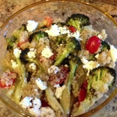 Roasted broccoli quinoa with goat cheese
