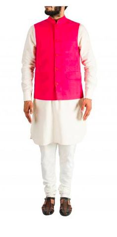 Gentlemen, get in tune with wedding fashion this season, with this kurta set and Nehru jacket - a hotseller this season - by Arjan Dugal. Available at a special online discount. Nehru Jacket For Men, Nehru Jackets, Online Discount, Wedding Store, Ethnic, Menswear, Indian, Cream, Pink