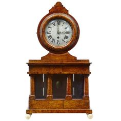 19th Century Birchroot Mantle Clock by Svensson | From a unique collection of antique and modern clocks at https://www.1stdibs.com/furniture/decorative-objects/clocks/