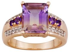 Stratify (Tm)2.70ct Ametrine .35ctw African Amethyst And White Topaz 18k Rose Gold Over Silver Ring
