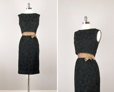 Vintage 50s Dress /  Vintage 1950s Black Evening by bloombird, $89.00