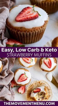 These keto strawberry muffins are incredibly healthy and made with almond flour and protein powder. They are gluten free, made with fresh strawberries and are incredibly easy to make. Best Paleo Recipes, Gluten Free Recipes For Dinner, Primal Recipes, Baking Recipes, Whole Food Recipes, Strawberry Muffins, Strawberry Recipes, Traditional Easter Desserts, Easy No Bake Desserts