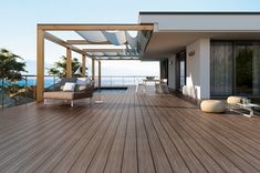 Many homeowners are aware of deck rot and attempt to avoid the costly water damage to their deck by using composite wood decking. Unfortunately, homeowners often forget the importance of protecting their deck structure, most notably the joists. Timber Tiles, Tile Wood, Deck Cost, Terrasse Design, Terrace Floor, Building A Pergola, Deck Builders, Outdoor Spaces, Outdoor Decor