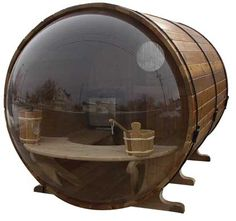 """Ask for our """"SMOKED"""" bubble  Our """"smoked"""" bubble allows privacy if you like to sauna Eau Natural.   It is like looking into a pair of sunglasses at the same time allowing those inside the same view out as a clear bubble"""