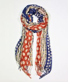 Another great find on #zulily! Red & Blue Polka Dot Scarf #zulilyfinds