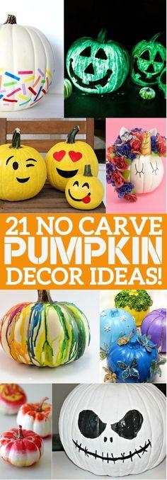 21 No Carve Pumpkin Decorating Ideas That You'll LOVE This Halloween! 21 No Carve Pumpkin Decorating Ideas - you'll love these ways to decorate pumpkins without carving this Halloween! Easy Pumpkin Carving, Pumpkin Art, Baby In Pumpkin, Pumpkin Crafts, Carving Pumpkins, Pumpkin Carvings, Pumpkin Painting Ideas Diy, Painting Pumkins Ideas, No Carve Pumpkin Ideas
