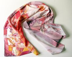 Silk scarf hand painted  dyed scarves  painting on by silkstory, $75.00