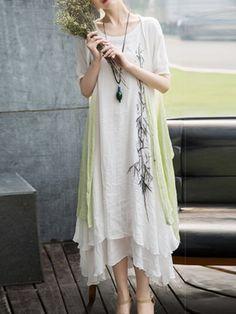 Shop Midi Dresses - White Two Piece Crew Neck Casual Floral Midi Dress online…