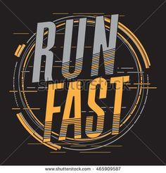 Athletic sport running typography, t-shirt graphics, vectors