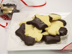 Chocolate dipped shortbread.