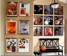 idea wall using clipboards - for craft room?