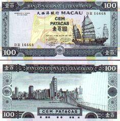 Macau   100 Patacas 13.7.1992 (junk, city view)
