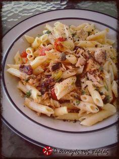Μεσογειακές πένες με τόνο #sintagespareas Pasta Salad, Potato Salad, Cabbage, Recipies, Potatoes, Vegetables, Ethnic Recipes, Food, Crab Pasta Salad