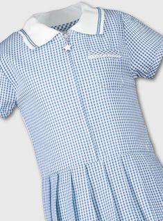Ages 3-14 Girls Summer Check Gingham School Dress Pleated Sky Blue Purple Red