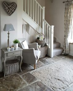 Flagged floor...comfy chair..perfect hallway