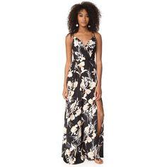 Yumi Kim Kat Maxi Dress (271 AUD) ❤ liked on Polyvore featuring dresses, bay breeze black, silk dress, retro dresses, retro floral dress, yumi kim dress and botanical dress
