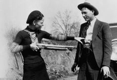 """""""This here's Miss Bonnie Parker. I'm Clyde Barrow. We rob banks."""" ~Chasing Bonnie Clyde It was Texas Lawmen that brought them down! Bonnie Parker, Bonnie Clyde, Bonnie And Clyde Tattoo, Bonnie And Clyde Death, Old Pictures, Old Photos, Famous Pictures, Amazing Pictures, Poster Print"""
