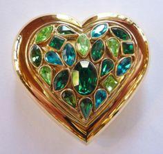 YSL Yves Saint Laurent Green Rhinestone Heart Compact Vintage 1989