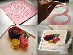 Flores de papel, pode-se reutilizar restos que tenha em casa...  Corta em espiral e enrola fixando com um pouco de cola.