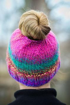 Get-Up-and-Go Messy Bun Hat - Knitting Patterns and Crochet Patterns from KnitPicks.com